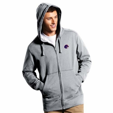 Boise State Mens Signature Full Zip Hooded Sweatshirt (Color: Gray)