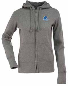 Boise State Womens Zip Front Hoody Sweatshirt (Color: Gray) - Large