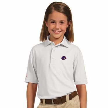 Boise State YOUTH Unisex Pique Polo Shirt (Color: White)