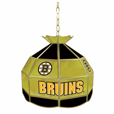 Boston Bruins 16 Inch Diameter Stained Glass Pub Light