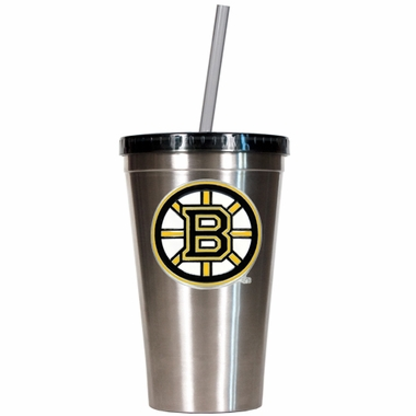 Boston Bruins 16oz Stainless Steel Insulated Tumbler with Straw