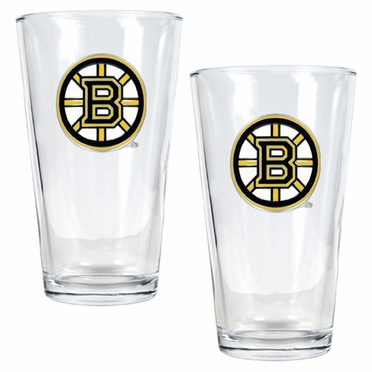 Boston Bruins 2 Piece Pint Glass Set