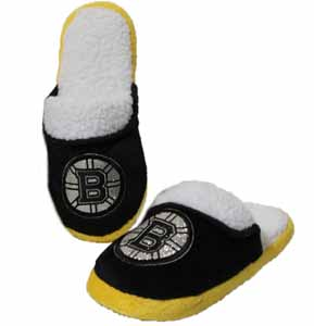 Boston Bruins 2012 Womens Team Color Sherpa Glitter Slippers - X-Small