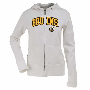 Boston Bruins Applique Womens Zip Front Hoody Sweatshirt (Color: White)