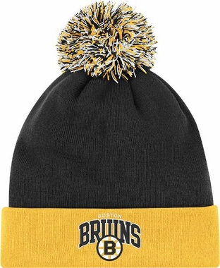 Boston Bruins Arched Logo Vintage Cuffed Pom Hat