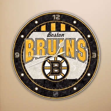 Boston Bruins Art Glass Clock