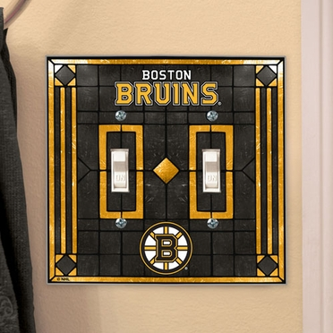 Boston Bruins Art Glass Lightswitch Cover (Double)
