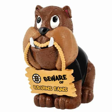 Boston Bruins Bulldog Holding Sign Figurine