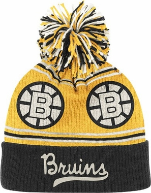Boston Bruins CCM Repeating Logo Cuffed Pom Knit Hat