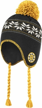 Boston Bruins CCM Tassel Pom Snowflake Knit Hat