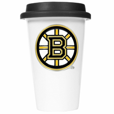 Boston Bruins Ceramic Travel Cup (Black Lid)