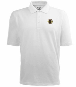Boston Bruins Mens Pique Xtra Lite Polo Shirt (Color: White) - Large