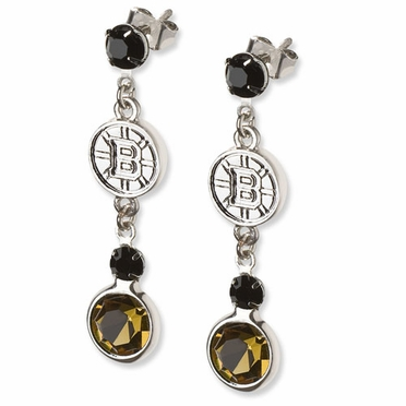 Boston Bruins Crystal Logo Dangle Earrings