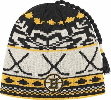 Boston Bruins Jacquard Pattern Hocky Stick Tassel Cuffless Knit Hat