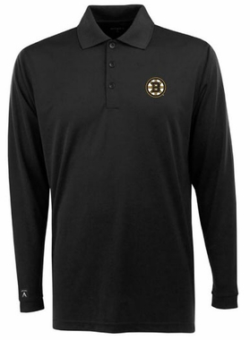 Boston Bruins Mens Long Sleeve Polo Shirt (Team Color: Black)
