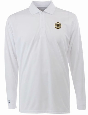 Boston Bruins Mens Long Sleeve Polo Shirt (Color: White)