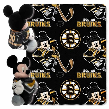 Boston Bruins Mickey Hugger with Small Fleece Throw