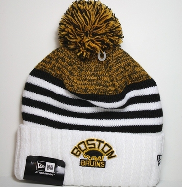 Boston Bruins New Era NHL Snowfall Stripe Cuffed Knit Hat