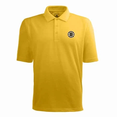 Boston Bruins Mens Pique Xtra Lite Polo Shirt (Color: Gold)