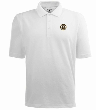 Boston Bruins Mens Pique Xtra Lite Polo Shirt (Color: White)