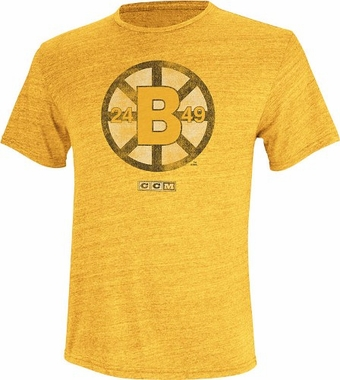 Boston Bruins Retro Logo Distressed Tri-Blend T-Shirt