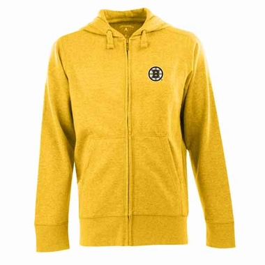 Boston Bruins Mens Signature Full Zip Hooded Sweatshirt (Color: Gold)