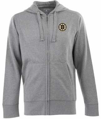 Boston Bruins Mens Signature Full Zip Hooded Sweatshirt (Color: Gray)