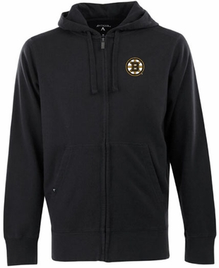 Boston Bruins Mens Signature Full Zip Hooded Sweatshirt (Color: Black)