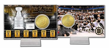 Boston Bruins Boston Bruins Six Time Stanley Cup Champions Bronze Coin Card