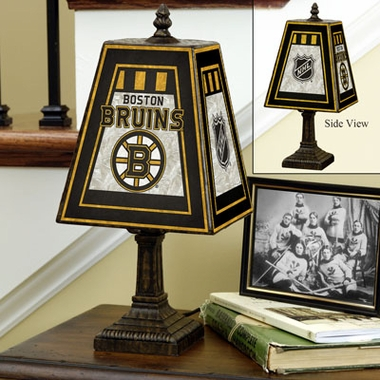 Boston Bruins Small Art Glass Lamp