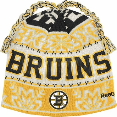 Boston Bruins Snowflake Pattern Tassel Knit Hat