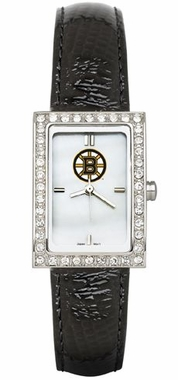 Boston Bruins Women's Black Leather Strap Allure Watch