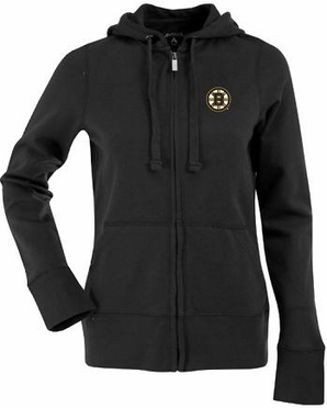 Boston Bruins Womens Zip Front Hoody Sweatshirt (Team Color: Black)