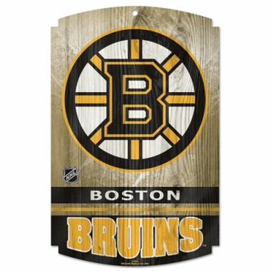 "Boston Bruins Wood Sign - 11"" x 17"""