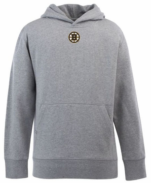 Boston Bruins YOUTH Boys Signature Hooded Sweatshirt (Color: Gray)