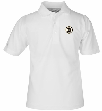 Boston Bruins YOUTH Unisex Pique Polo Shirt (Color: White)