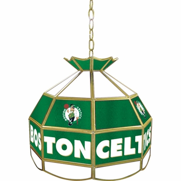 Boston Celtics 16 Inch Diameter Stained Glass Pub Light