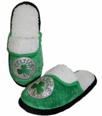 Boston Celtics 2012 Womens Team Color Sherpa Glitter Slippers
