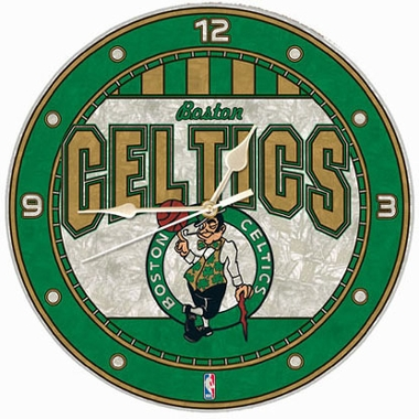 Boston Celtics Art Glass Clock
