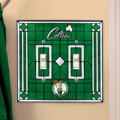 Boston Celtics Art Glass Lightswitch Cover (Double)