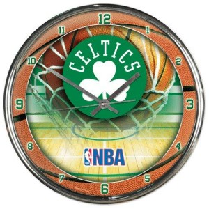 Boston Celtics Round Chrome Wall Clock