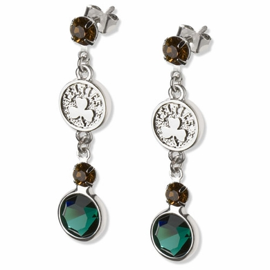 Boston Celtics Crystal Logo Dangle Earrings
