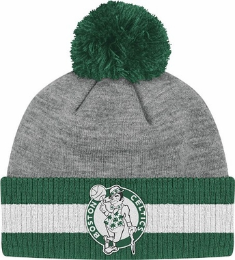 Boston Celtics Jersey Stripe Vintage Cuffed Pom Hat (Grey)