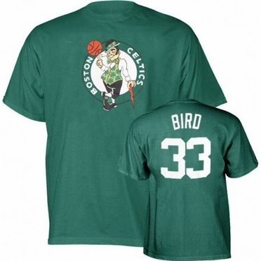 Boston Celtics Larry Bird Player Name and Number T-Shirt