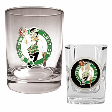 Boston Celtics Rocks and Shot Glass Set