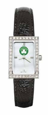 Boston Celtics Women's Black Leather Strap Allure Watch
