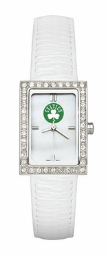 Boston Celtics Women's White Leather Strap Allure Watch