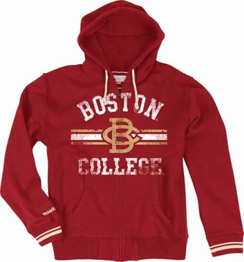 Boston College Eagles Mitchell & Ness 2013 Vintage Full Zip Premium Hooded Sweatshirt - Red