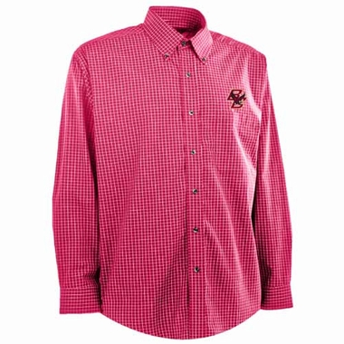 Boston College Mens Esteem Check Pattern Button Down Dress Shirt (Team Color: Red)