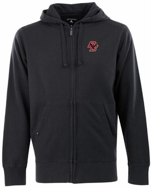Boston College Mens Signature Full Zip Hooded Sweatshirt (Color: Black)